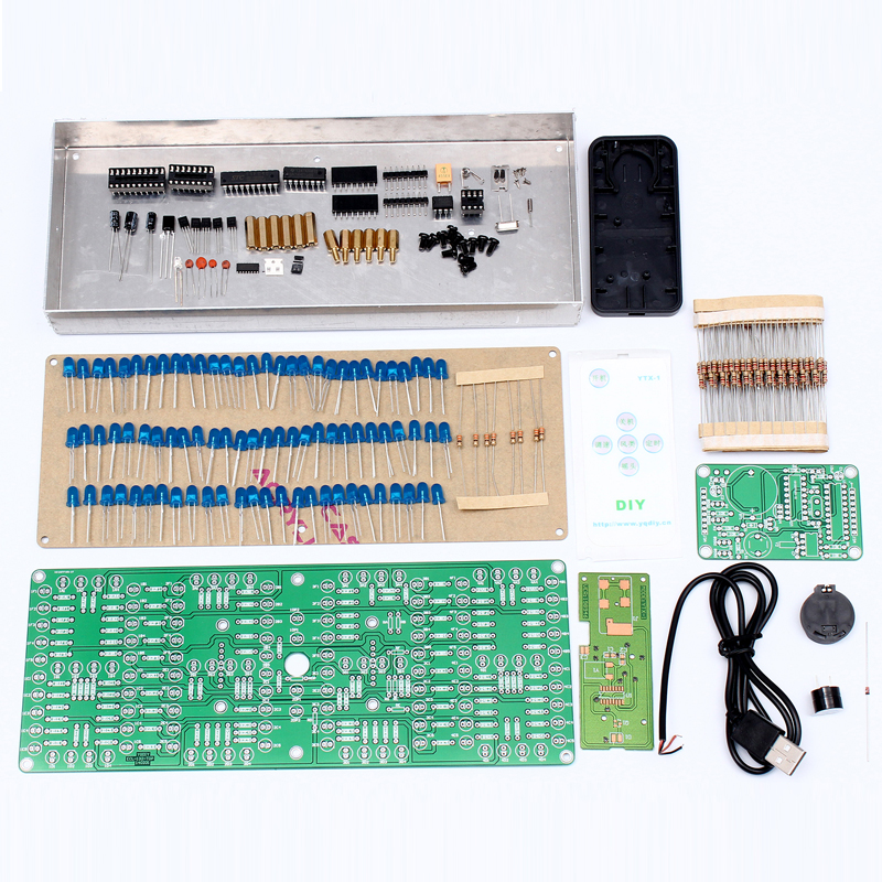 ECL 132 Clock DIY Kit Blue Supersized Screen Display Remote Control Clock Kits Electronic Suite