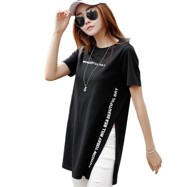 1719f25510593 Новая стильная длинная футболка женская модная футболка с разрезом сбоку  женская летняя 2019 буквенная черная белая