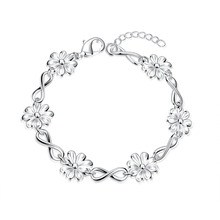 Factory price top quality Silver Plated &Stamped 925 many small chrysanthemum  Charms Links Bracelet Women wedding  jewerly