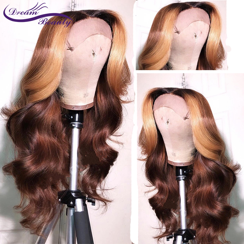 Ombre Blonde Wig Lace Front Human Hair Wigs Brazilian Remy Straight - Human Hair (For Black)