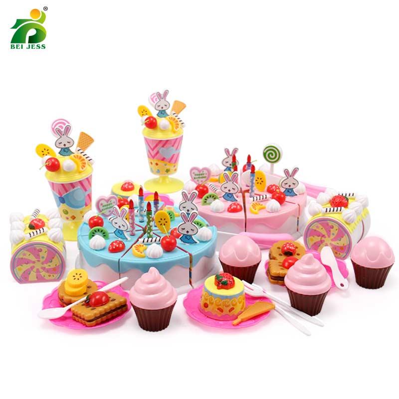 Girls cake kitchen toys set children diy pretend play plastic miniature food cutting educational for kids birthday gifts