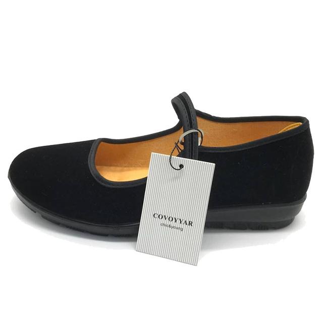 2019 Mary Janes Panie mieszkania klamra Strap wygodne kobiety buty okrągłe toe Solid casual buty plus rozmiar 34 ~ 41 czarny WFS508