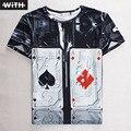 Новый Летний Моды для Мужчин 3d Футболки Кобе Покер Творческий Бумаги Симпсоны Печати С Коротким Рукавом Графический Тис Женщины Пара Одежда