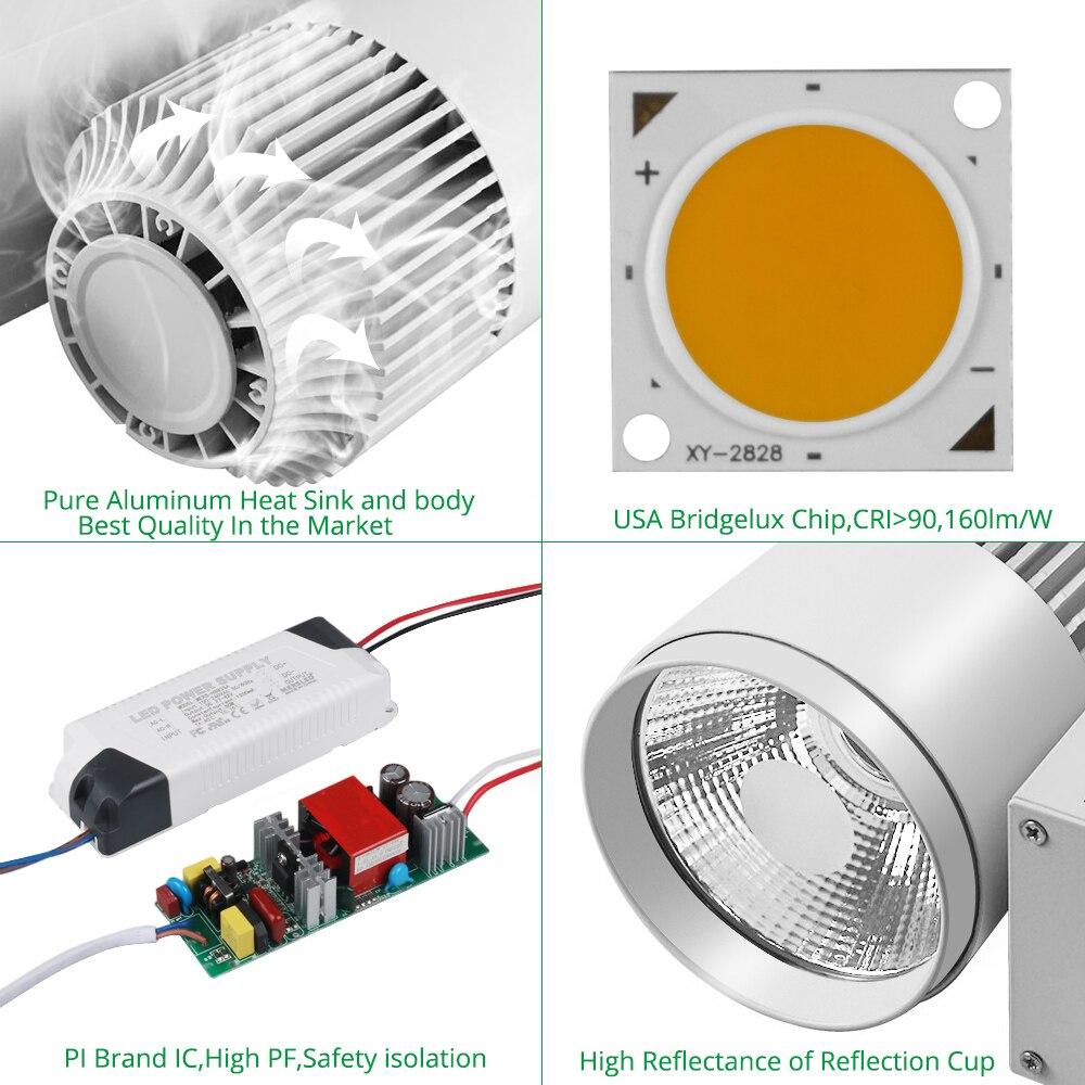 Track Light LED 40W COB Rail Spot Lamp Lamp կոշիկի - Ներքին լուսավորություն - Լուսանկար 4