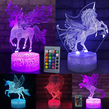 цены 7 / 16 Color LED Table Desk Lamp Kids Gift Home Decoration LED Table Desk Lamp LED Night Light Unicorn 3D LED Night Light D25
