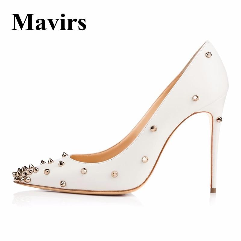 Бренд Mavirs женской обуви 2018 Весна сексуальный 12 см высоких каблуках Белый заклепки Свадебные туфли Размер ЕС 35-46
