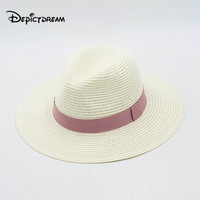 Women Summer Hat Beach Straw Hat Panama Ladies Cap Fashionable Handmade Casual Jazz Bandage Sun Hats for Women
