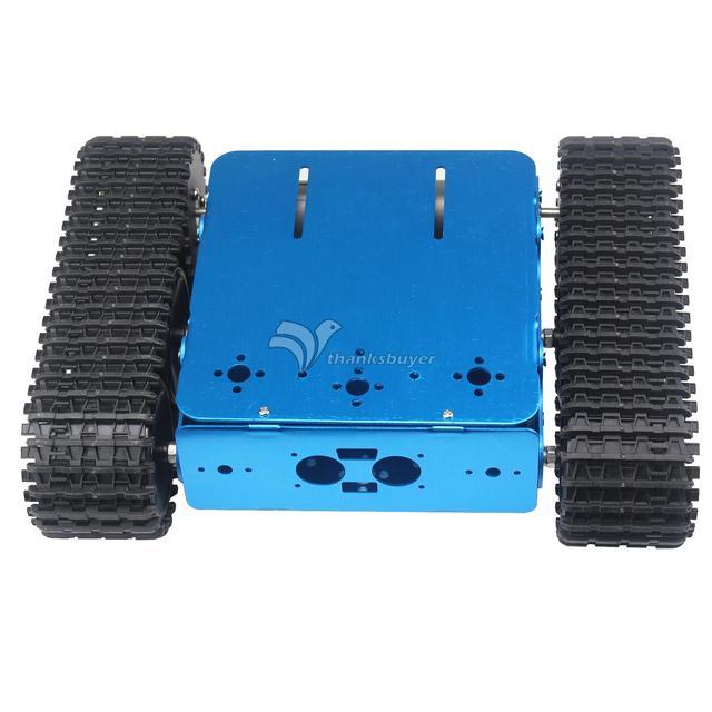 Desmontado de Alumínio Veículo Rastreado Chassis Tanque Azul Caterpillar Trator Sobre Esteiras Carro Robô Inteligente para Arduino