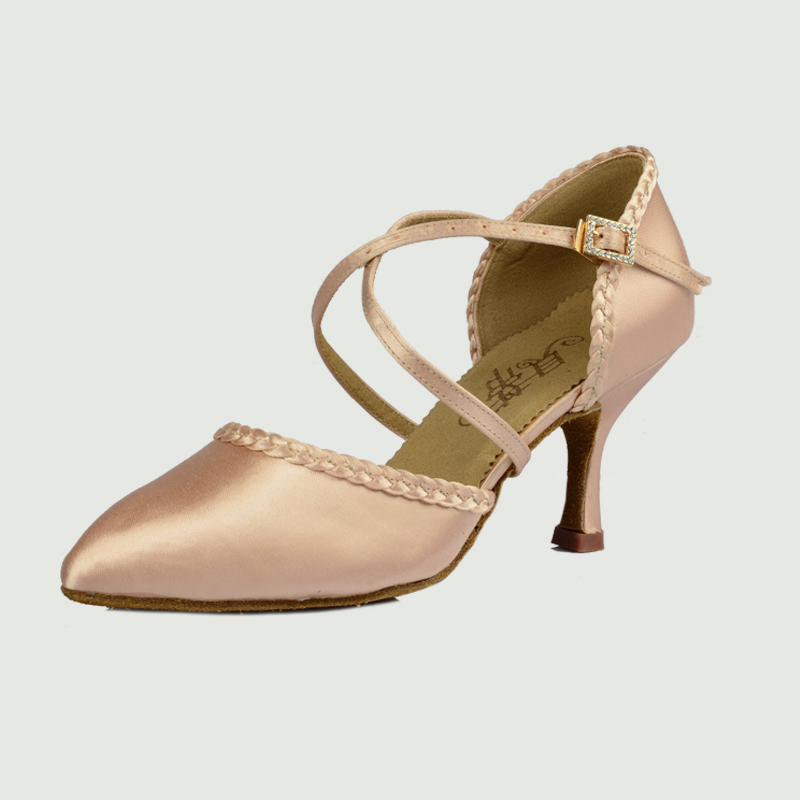 Standard Dance Shoe Brand Party Ballroom Jazz Shoes Closed Toe Thin Heel Brown High Quality Female