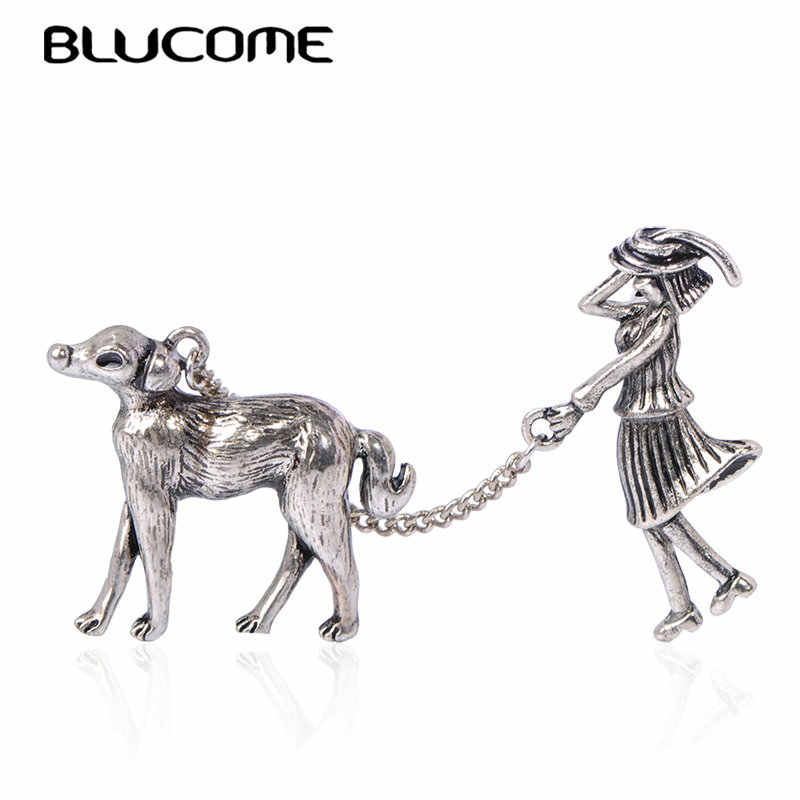 Blucome วินเทจ Vivid GIRL และสุนัขรูปร่างเข็มกลัดโบราณโลหะทองเข็มกลัดสำหรับผู้หญิงผู้ชายหมวกผ้าพันคอชุด Corsage Pins เครื่องประดับ