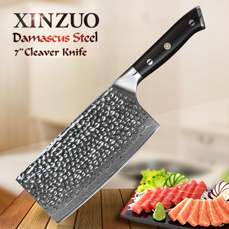 XINZUO 7 inch PRO Cleaver Kitchen Knives Japan VG10 Damascus Stainless Steel Chef Slicing Knife with