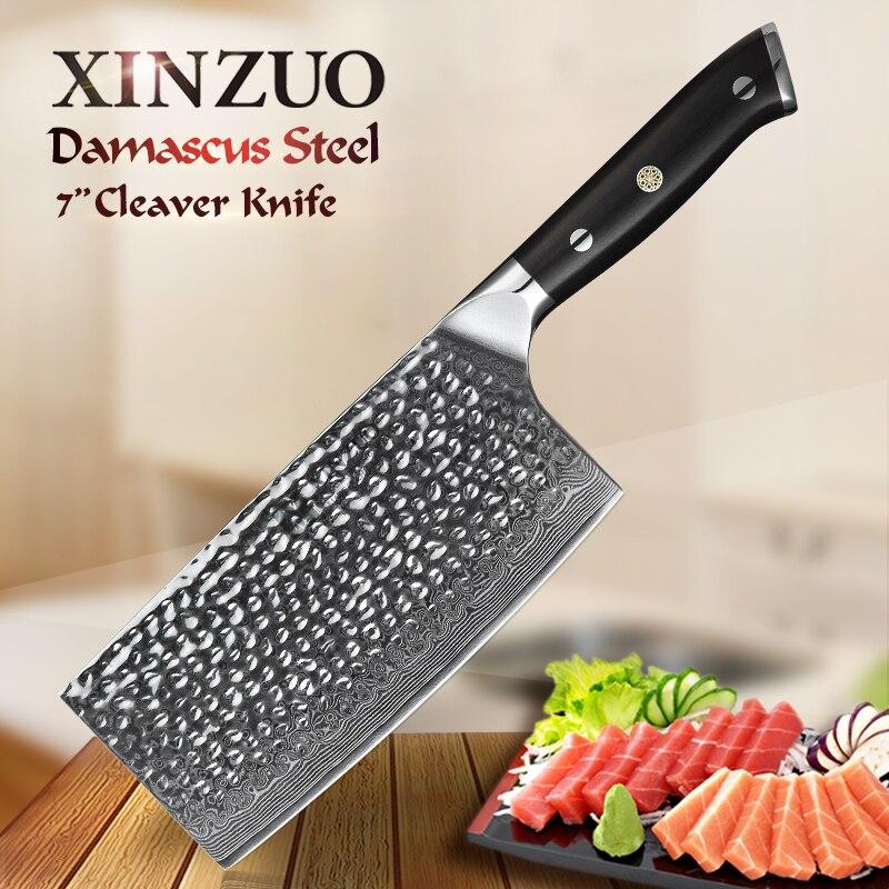 """Xinzuo 7 """"인치 pro cleaver 주방 나이프 일본 vg10 다마스커스 스테인레스 스틸 요리사 슬라이스 나이프 흑단 손잡이 선물 나이프-에서주방 칼부터 홈 & 가든 의  그룹 1"""