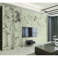 3D Custom Wallpaper For Walls DIY Mural Home Decor Waterproof Black And White Banboom Frost Wall