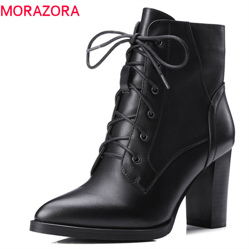MORAZORA 2018 top quality genuine leather boots pointed toe lace up ankle boots short plush autumn winter high heels dress shoes new arrival genuine leather high quality large size pointed toe high heels fashion winter shoes lace up concise ankle boots l0f4