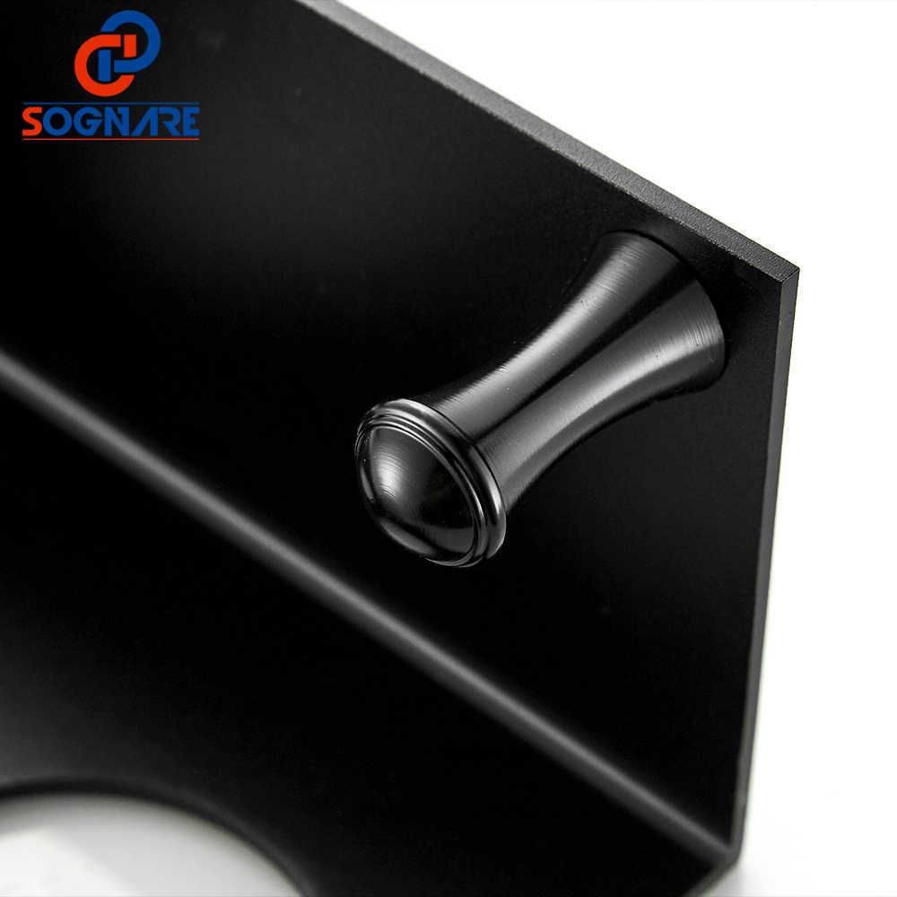 SOGNARE שחור כוס מחזיקת קיר רכוב בעל מברשת שיניים עם וו אמבטיה סטי חומרת אמבטיה מדף כפול כוס בעל