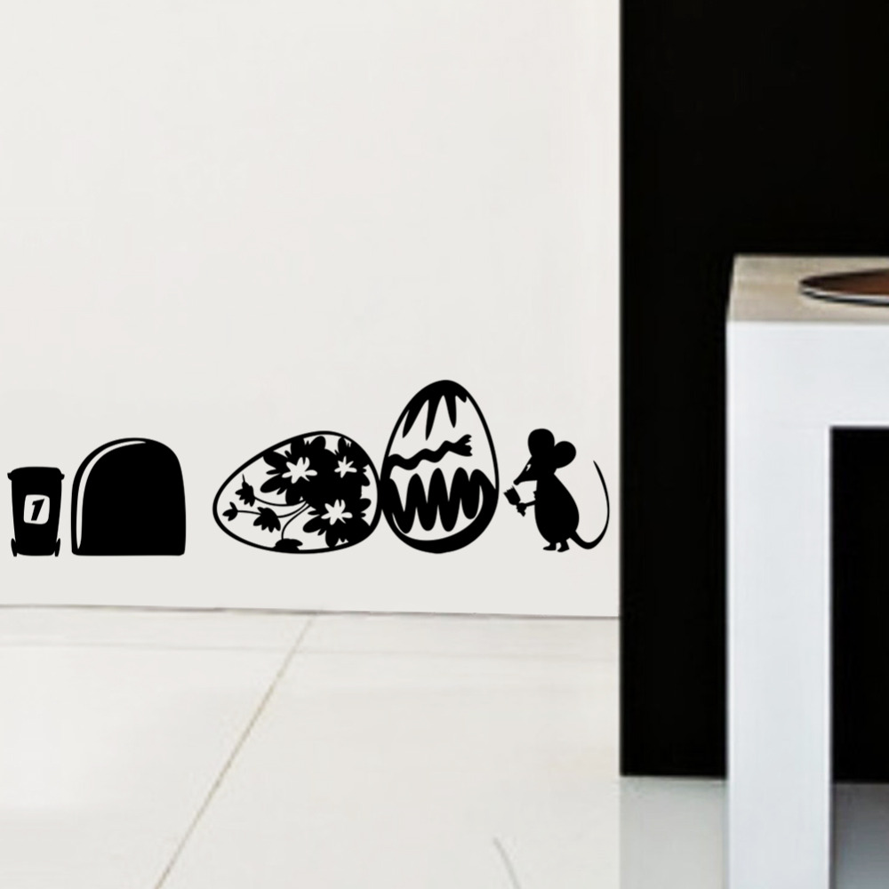 Happy Mouse paiting on the egg wall sticker for kids rooms children room decals hoom decoration