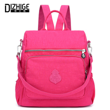 DIZHIGE Brand Waterproof Backpack Women Nylon Fashion High Quality School Bags For Women Solid Zipper Multifunctional Bag Female