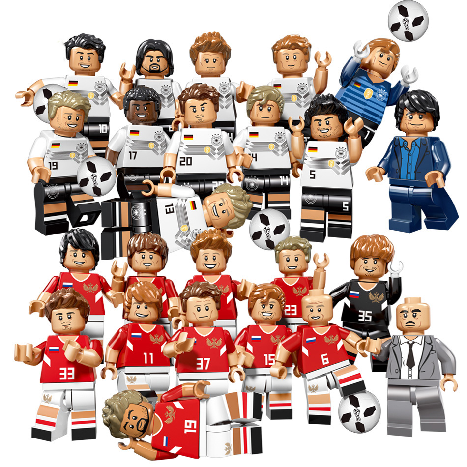 12pcs Football Team Soccer Player Figures Building Blocks Compatible Legoing Bricks Russia German Football Figures Toy For Child