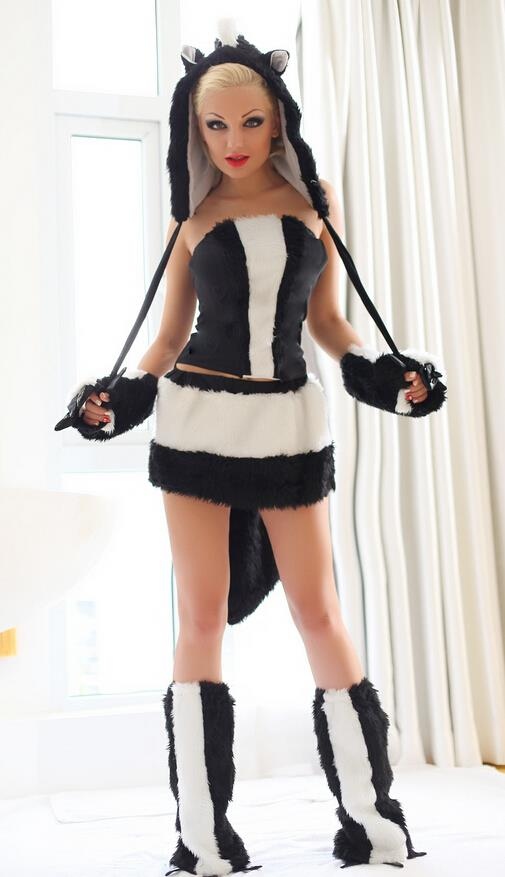 new Sexy Halloween Female clothes Skunk clothes Cosplay Costume free Size for Halloween hot sale