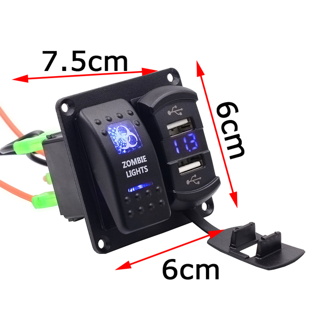 Rocker Switch Zombie Light ON-OFF Switch + Dual 4.2A USB Charger + LED Voltmeter for 12V-24V Motorbike Boat Riding