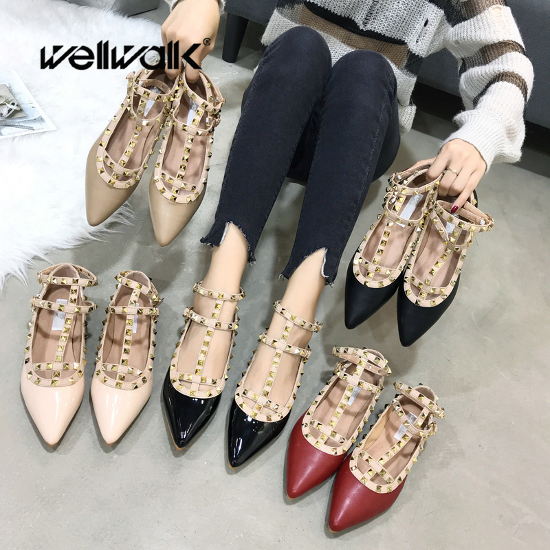 Fashion Patent Ballet Flats Women Rivets Buckle Strap Baleriny Ladies Flat Sandals Autumn Shoes Fenty Beauty Casual Flats hee grand solid patent leather women oxfords british new fashion platform flats casual buckle strap ladies shoes woman xwd5833