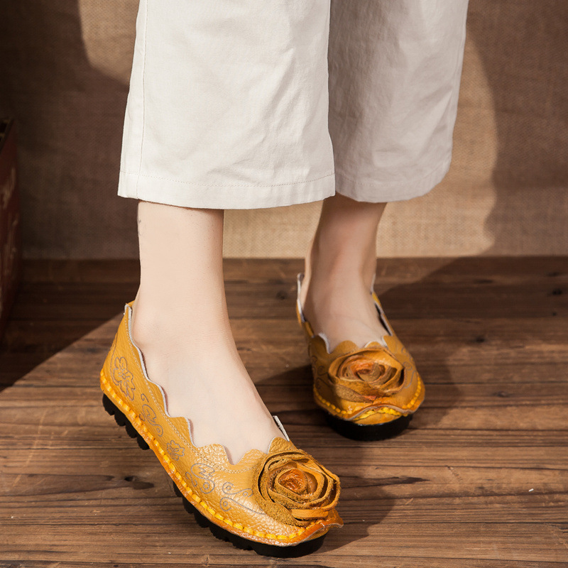 DONGNANFENG Women Mother Female Ladies Shoes Flats Loafers Cow Genuine Leather Round Slip On Pigskin Floral Flower 35 42 XR 1 in Women 39 s Flats from Shoes