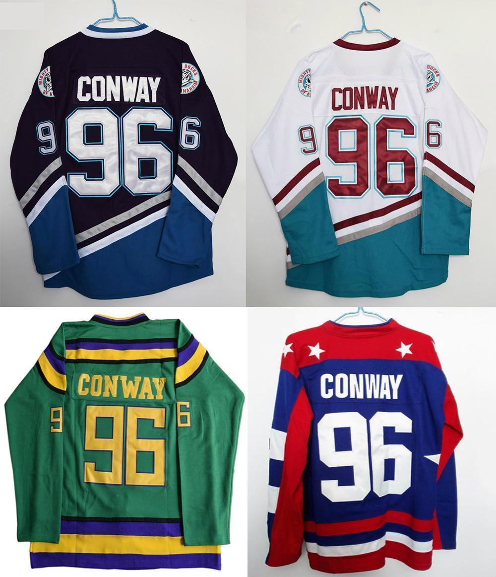 Mighty Ducks Movie Jersey #96 Charlie Conway All Colors Hockey Jersey Stitched 2015 61 men s hockey jersey