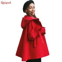 Отдел Sen Line Новое корейское Женское зимнее шерстяное пальто утолщенное с капюшоном а Тип шерстяное женское короткое пальто женское Красное Женское пальто