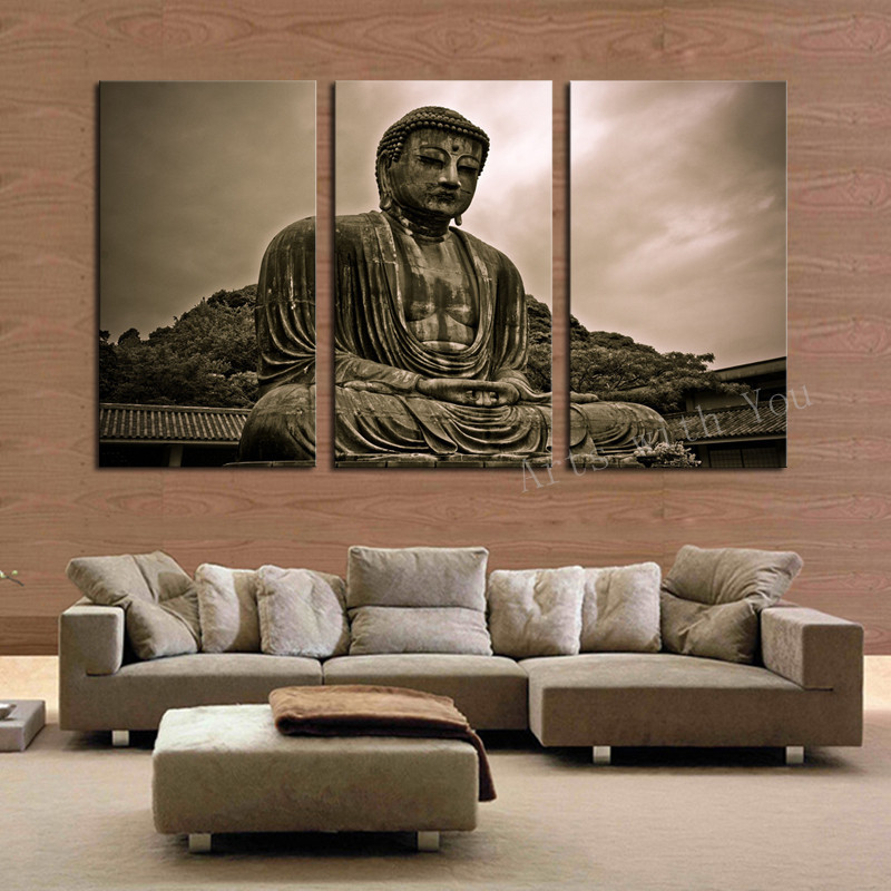 3 Piece Figure Painting Grand Buddha Art Canvas Home Living Room Wall  Decoration Artwork HD Print Picture Canvas Unframed In Painting U0026  Calligraphy From ...