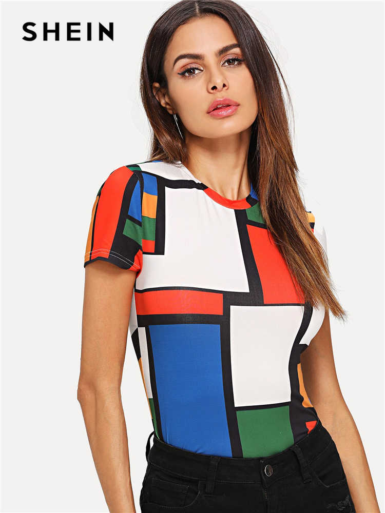 SHEIN Geometric Print Color Block Top Multicolor Short Sleeve Round Neck Tee Women Raglan Sleeve Slim Fit Pullovers T-shirt
