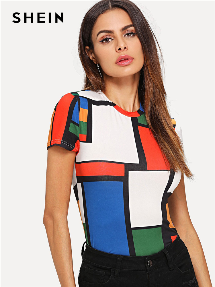 SHEIN Geometric Print Color Block Top Multicolor Short Sleeve Round Neck Tee Women Raglan Sleeve Slim Fit Pullovers T-shirt