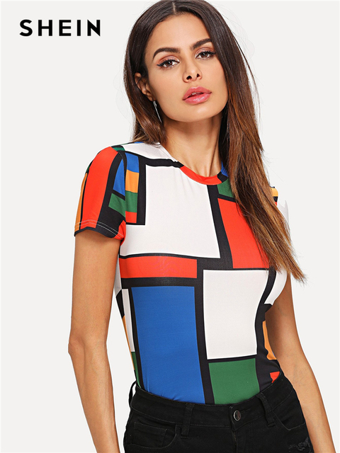 efb12e7c5c SHEIN Geometric Print Color Block Top Multicolor Short Sleeve Round Neck Tee  Women Raglan Sleeve Slim Fit Pullovers T-shirt