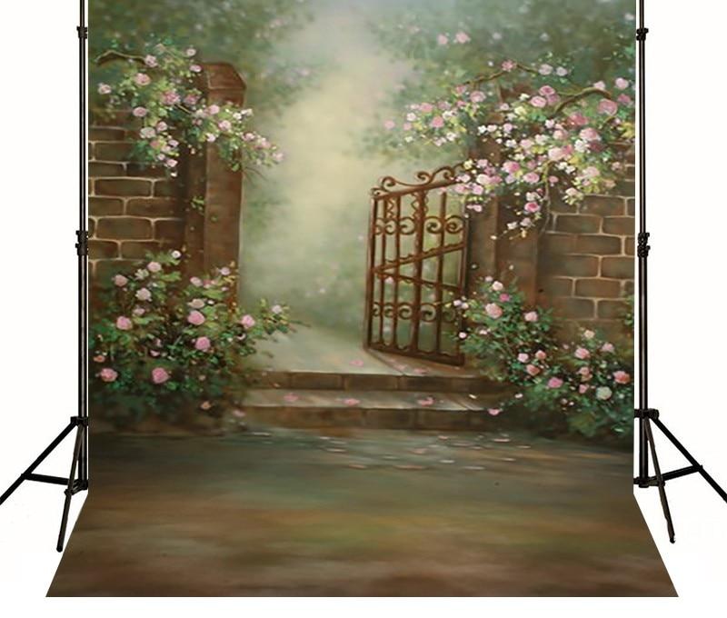Flower Garden Gates Backgrounds Vinyl cloth High quality Computer printed custom backdrop