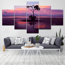 A tree with purple sunset landscape 5 Piece HD Wallpapers Art Canvas Print modern Poster Modular art painting Home Decor