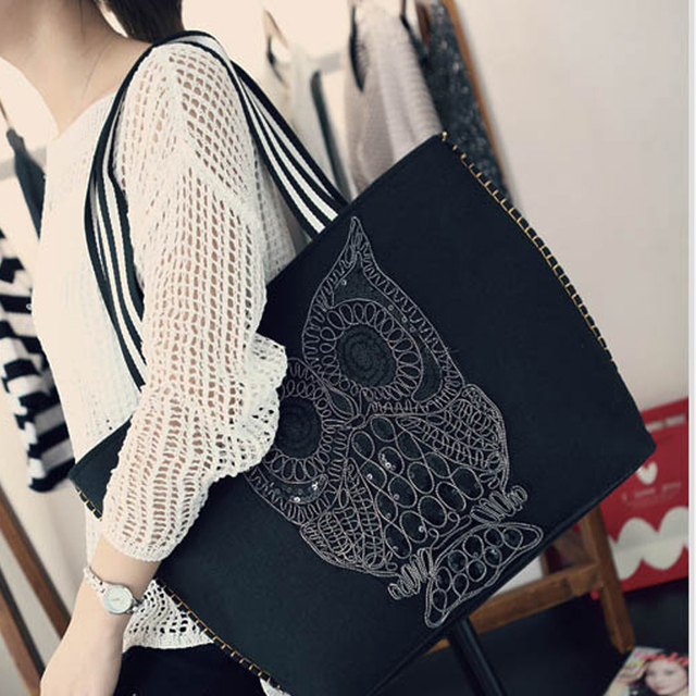 709016ccdde US $30.13  New Arrival Owl Pattern Handbags Women Fashion Trend Travel Bags  Large Shopping Bags Cartoon Printing Causal Totes Beach Bags -in ...