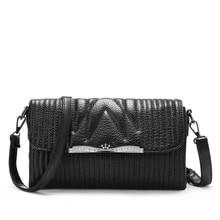 Black Stripe Small Bag Women Stylish Casual Mini Chain Flap Bag Fashion Simple Layered Shoulder Bag