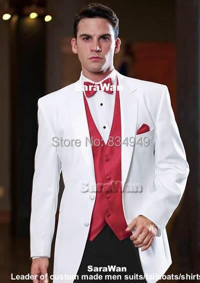 Schneidig Nach Maß Bräutigam Smoking Bespoke Kerbe Revers Weiß Anzüge Mit Rot Weste Tailor Made Hochzeit Anzüge Für Männer