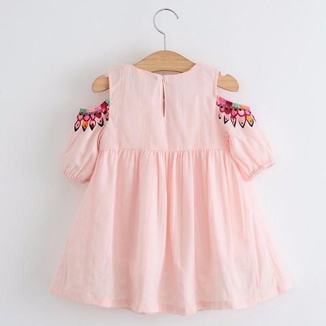 Cotton Girl Dress 2019 Summer New Girl Clothes Casual Sundress Short Sleeve Strapless Dress Princess Dress