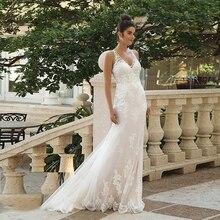 Dopasowane i Flare paski Spaghetti syrenka suknia ślubna z koronkowymi aplikacjami Illusion powrót suknie ślubne Vestido De Noiva Sereia