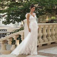 Fit and Flare Spaghetti Straps Mermaid Wedding Gown with Lace Appliques Illusion Back Bridal Dresses vestido de noiva sereia
