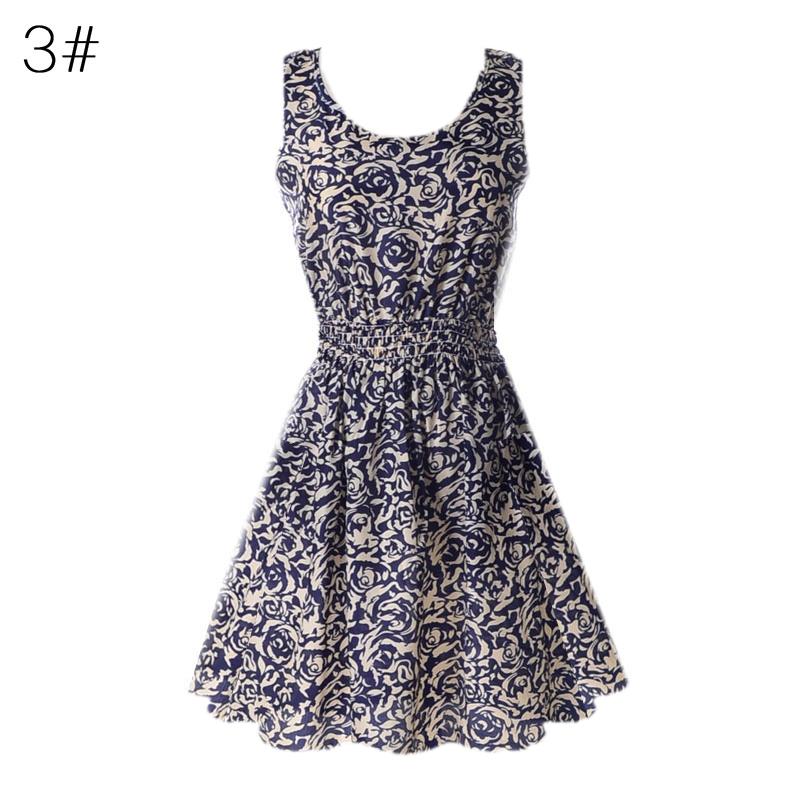 Sexy kobiety chiffon dress sundress plaża floral bez rękawów tank mini sukienki vestido 5