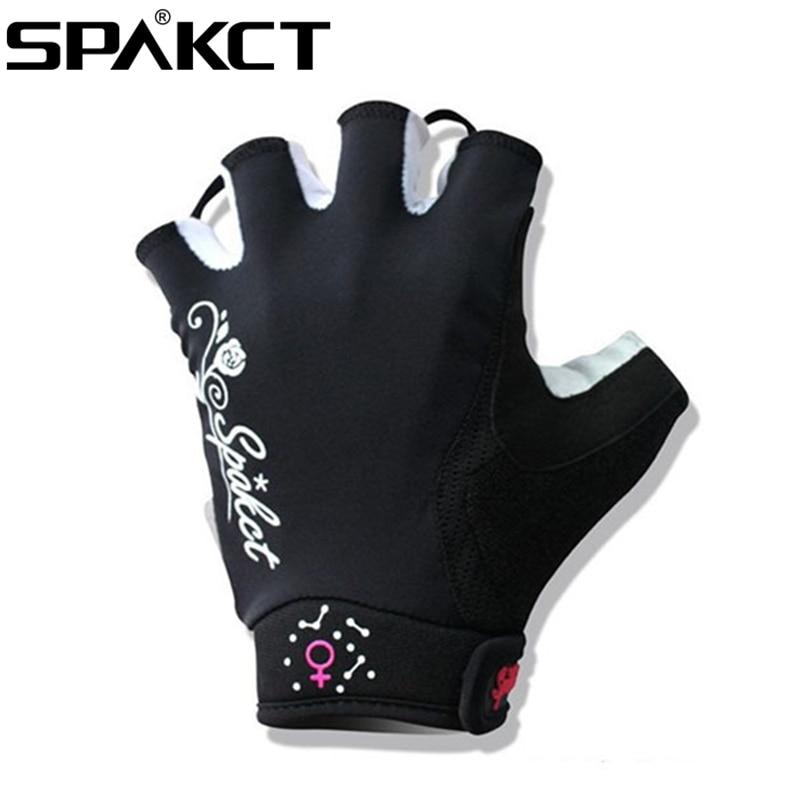 SPAKCT Women s Cycling Short Finger Half Finger font b Gloves b font Simple Love Pink