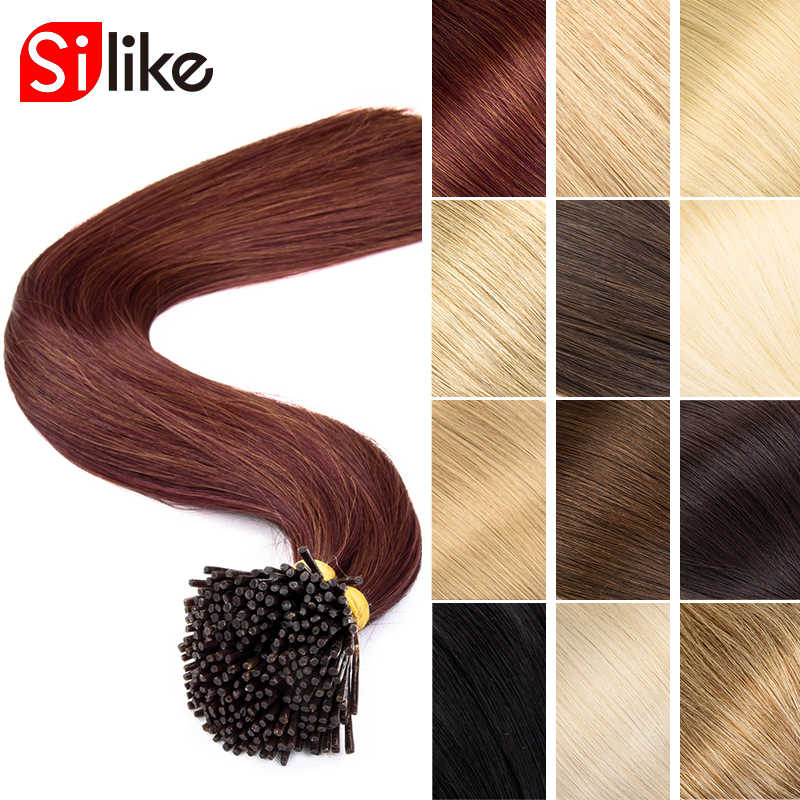 "Silike 1g/pc 22""Inch Pre Bonded Hair Extensions I Tip Machine Made Synthetic Silky Straight Hair On Capsule Real Hair 100pc/pack"
