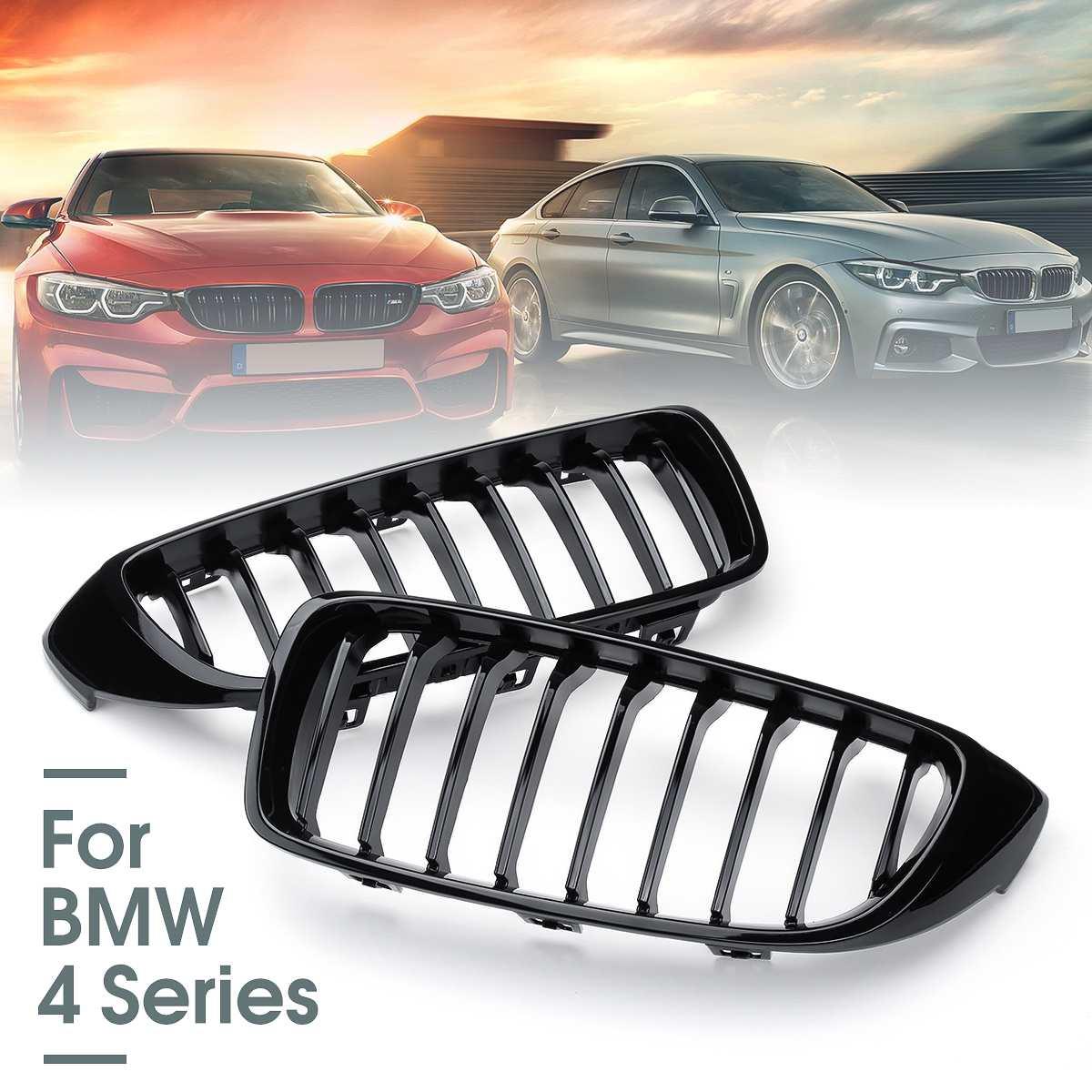 2 pièces brillant noir voiture calandre Grille maille filet garniture bande couverture pour BMW série 4 F32 F33 F36 F82 2013 up