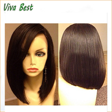 High quality 6A brazilian short wigs bob lace front wig & full lace wig glueless natural hairline for africa american