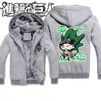 Winter New Attack on Titan Jackets Men Anime Hooded Thick Zipper Sweatshirts Shingeki No Kyojin Cosplay Custome Hoodie 121708