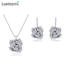 LUOTEEMI Best Gift Romantic Rose Flower Earrings and Pendant Neckalce AAA+ Clear CZ Micro Paved Jewelry Sets For Women Bijoux