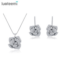 Teemi Best Gift Romantic Rose Flower Earrings And Pendant Neckalce AAA Clear CZ Micro Paved Jewelry