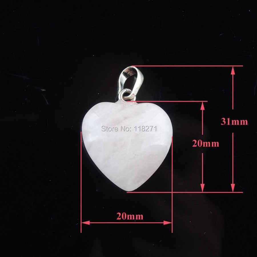 ナチュラルローズ Quartzs 宝石石のビーズハートシルバーメッキレイキチャクラペンダントネックレス 18 インチ WOJIAER PN3638