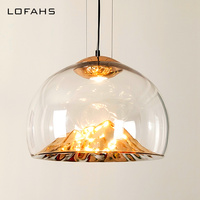 Pendant lamp glass hanging led glass lights Hand blown glass shade for dining bedroom salon lamparas de techo colgante moderna